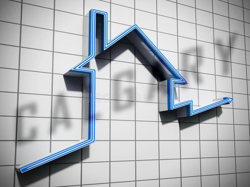 Το Calgary Real Estate Graph Εμφανίζει Ακίνητα Προς Πώληση Ή Ενοίκιο Στην Alberta 3d Illustrator ελεύθερη απεικόνιση δικαιώματος
