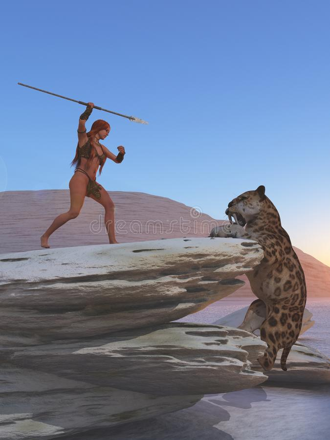 Το Cavegirl υπερασπίζεται ενάντια στην τίγρη sabretooth απεικόνιση αποθεμάτων