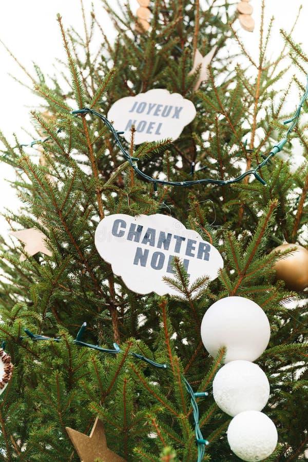 Το Chanter noel άφησε ` s να τραγουδήσει το σημάδι Χριστουγέννων στο χριστουγεννιάτικο δέντρο στοκ φωτογραφίες με δικαίωμα ελεύθερης χρήσης
