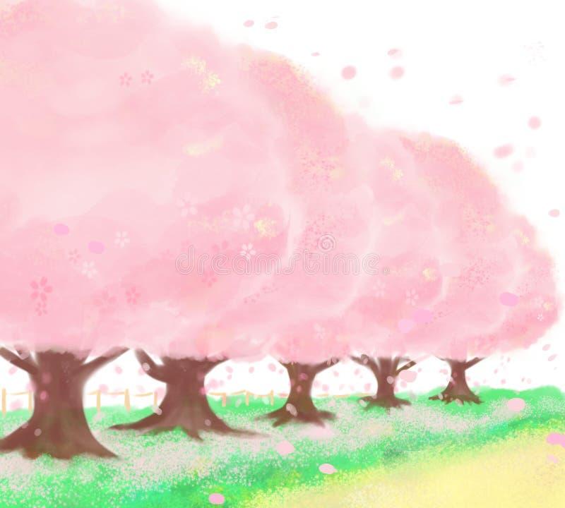 Το Cherry† tree† ευθυγράμμισε την πορεία που είναι πολύ όμορφη ελεύθερη απεικόνιση δικαιώματος