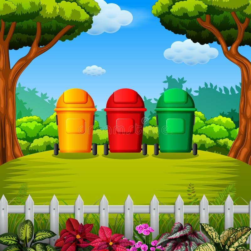 Το colorfull trashbin με την άποψη κήπων διανυσματική απεικόνιση