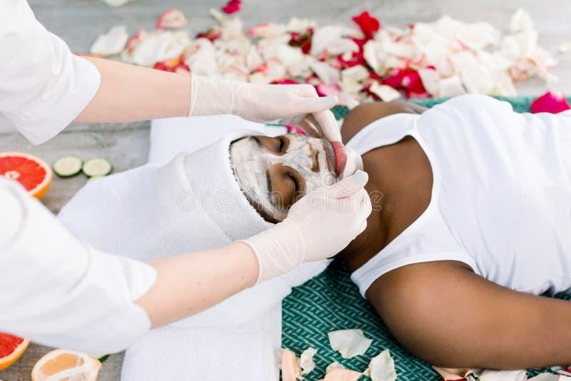 Το Cosmetologist λερώνει την καλλυντική μάσκα στο πρόσωπο της αφρικανικής γυναίκας στο σαλόνι SPA στοκ εικόνες