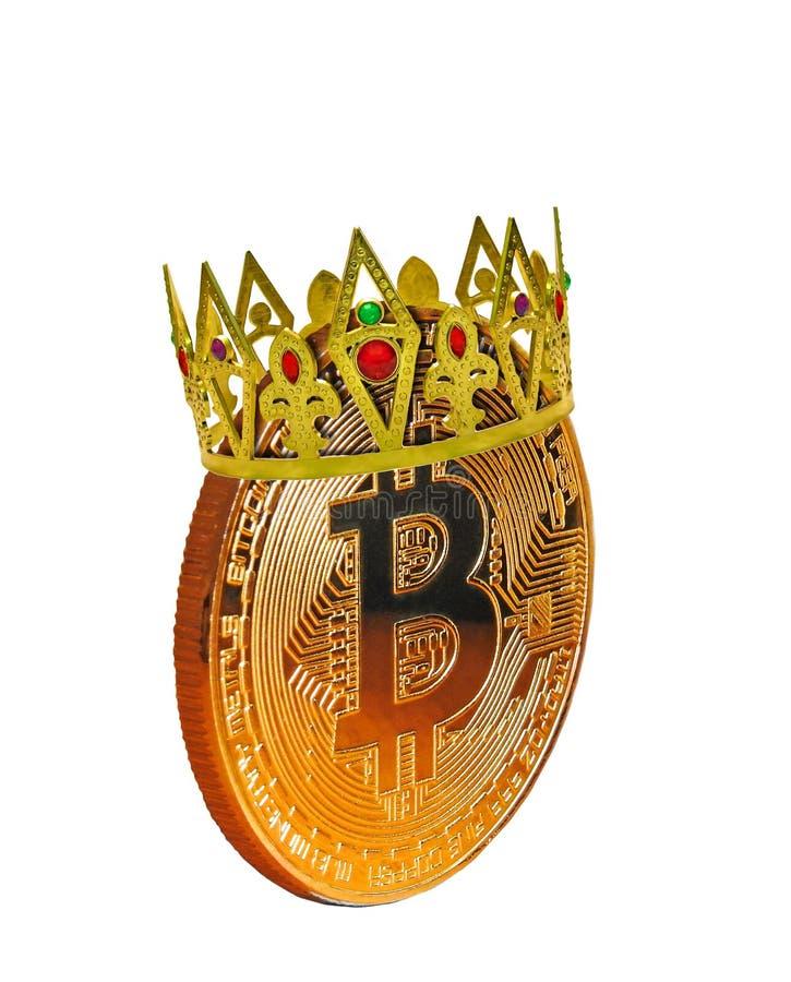 Το cryptocurrency Bitcoin είναι βασιλιάς που φορά τα χρυσά κοσμήματα κορωνών στοκ εικόνες