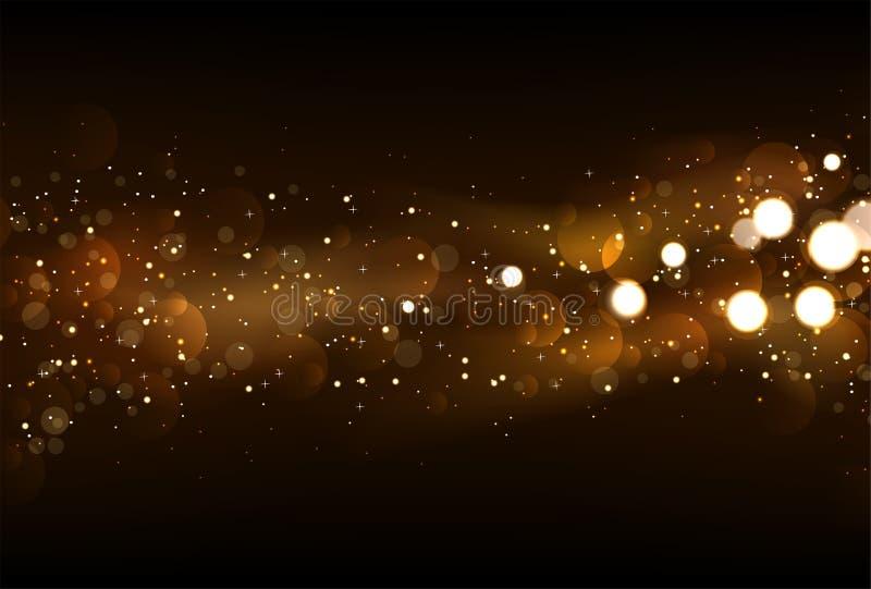 Το Defocused ακτινοβολεί υπόβαθρο φω'των στο σκοτεινό χρυσό και μαύρο χρώμα ελεύθερη απεικόνιση δικαιώματος