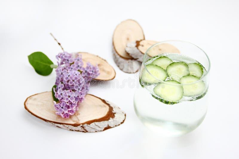 Το Detox αρωμάτισε το νερό με το αγγούρι στο άσπρο υπόβαθρο με την ιώδη και ξύλινη διακόσμηση τρόφιμα έννοιας υγιή Αναζωογονώντας στοκ φωτογραφίες με δικαίωμα ελεύθερης χρήσης
