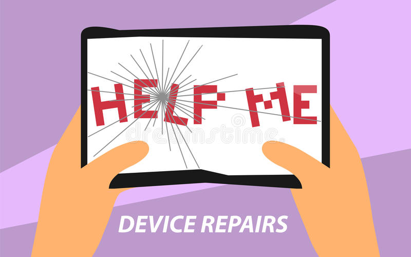 Το Devcie επισκευάζει το επίπεδο σημάδι σχεδίου Διανυσματική απεικόνιση του σπασμένου PC ταμπλετών με τη βοήθεια εγώ που γράφω γι απεικόνιση αποθεμάτων