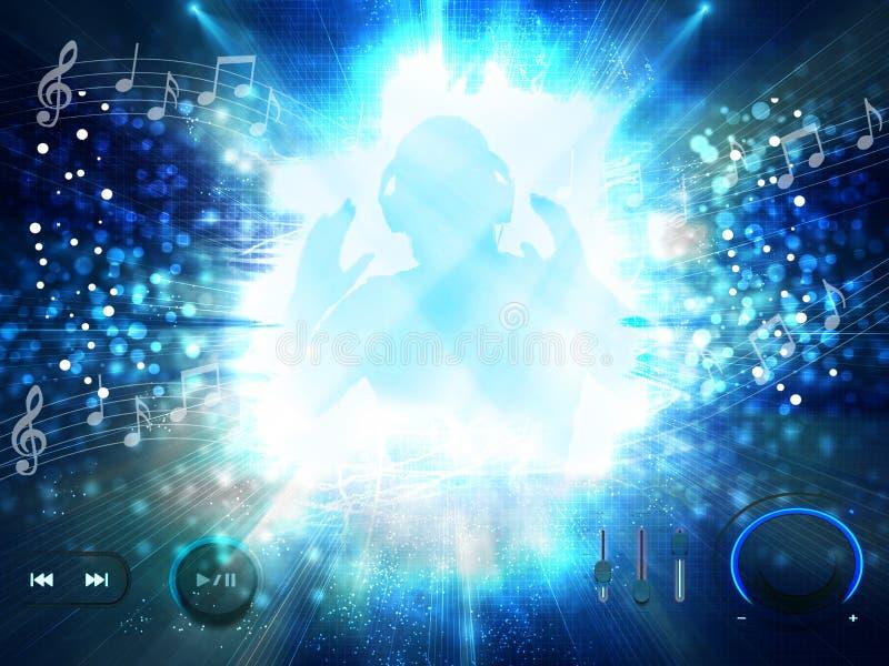 Το DJ αγαπά τη μουσική και κατοχή του κόμματος με τα κουμπιά φορέων στοκ εικόνα με δικαίωμα ελεύθερης χρήσης