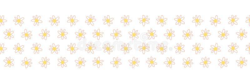 Το Doodle ανθίζει το άνευ ραφής διάνυσμα επαναλαμβάνει τα σύνορα Συρμένο χέρι floral κοράλλι συνόρων κίτρινο Συρμένο χέρι απλό di ελεύθερη απεικόνιση δικαιώματος