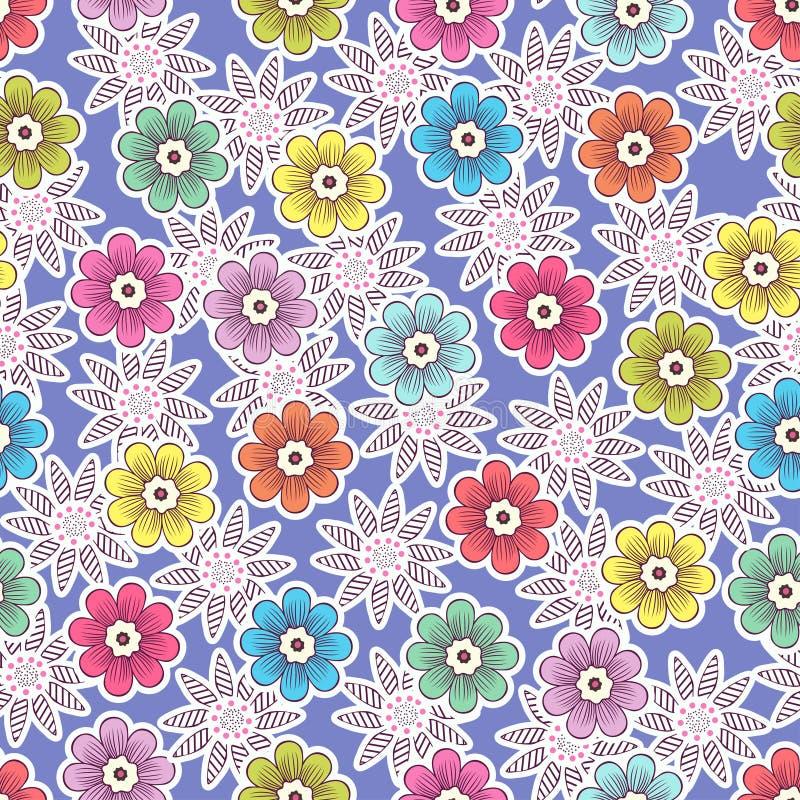 Το Doodle ανθίζει το άνευ ραφής σχέδιο, ζωηρόχρωμο floral υπόβαθρο Πολύχρωμοι φωτεινοί οφθαλμοί με το άσπρο κτύπημα στο πορφυρό σ ελεύθερη απεικόνιση δικαιώματος