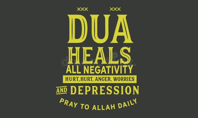 Το Dua θεραπεύει όλους την αρνητικότητα, που βλάπτονται, το θυμό, τις ανησυχίες και την κατάθλιψη προσεηθείτε στον Αλλάχ Daily διανυσματική απεικόνιση