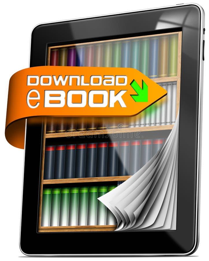 Το EBook μεταφορτώνει - υπολογιστής ταμπλετών ελεύθερη απεικόνιση δικαιώματος