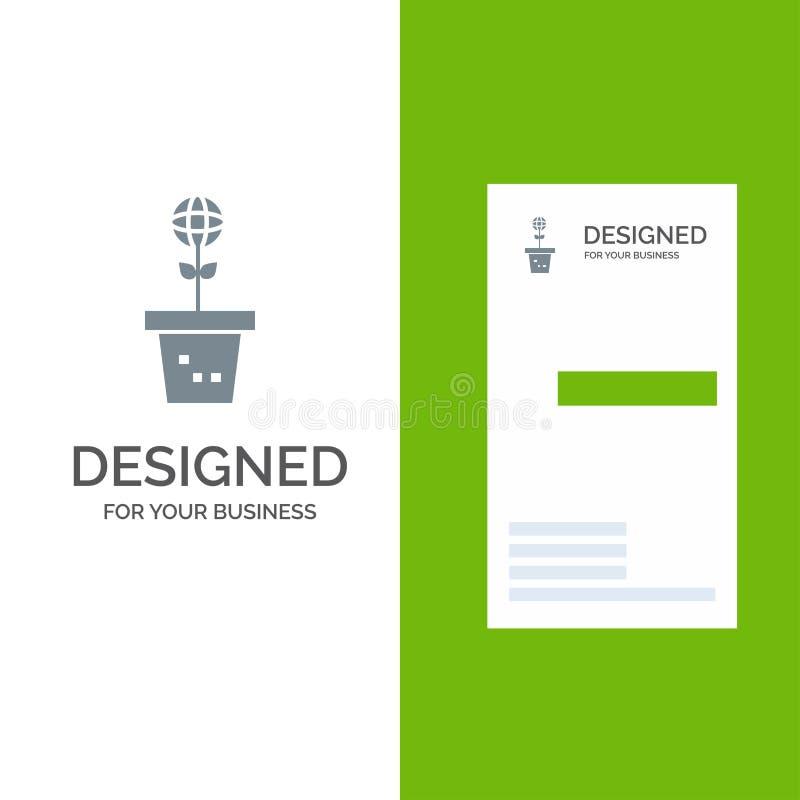 Το Eco, περιβάλλον, φόρμα, φύση, φυτεύει το γκρίζο σχέδιο λογότυπων και το πρότυπο επαγγελματικών καρτών διανυσματική απεικόνιση