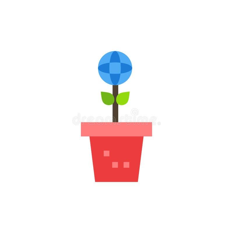 Το Eco, περιβάλλον, φόρμα, φύση, φυτεύει το επίπεδο εικονίδιο χρώματος Διανυσματικό πρότυπο εμβλημάτων εικονιδίων απεικόνιση αποθεμάτων
