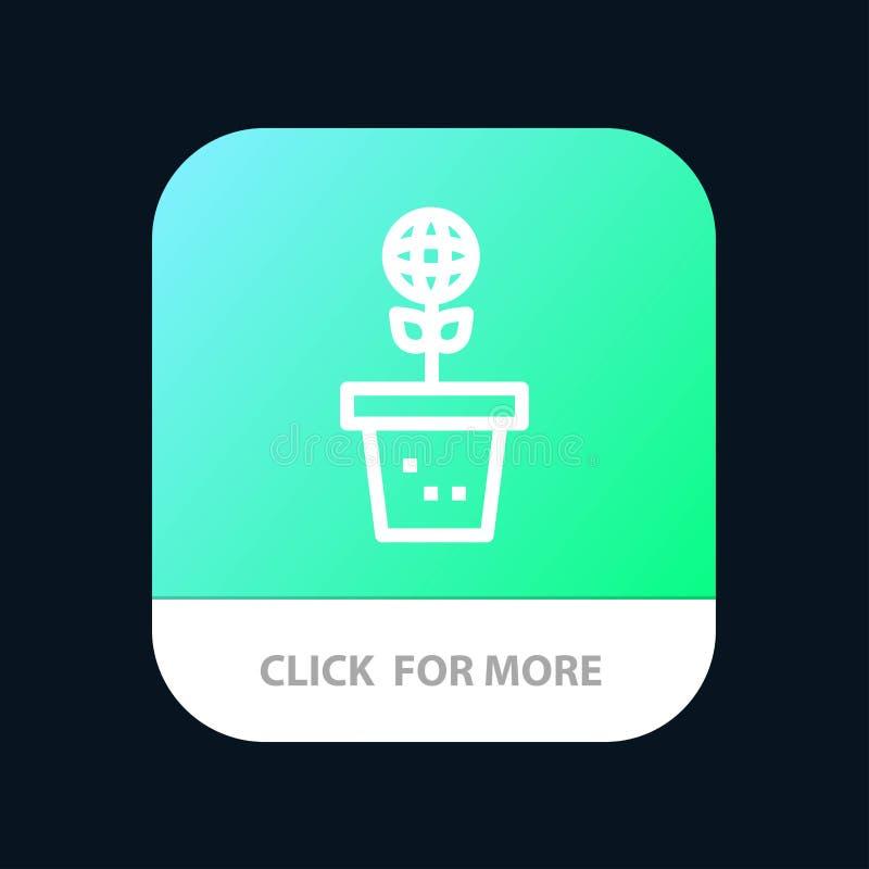 Το Eco, περιβάλλον, φόρμα, φύση, φυτεύει το κινητό App κουμπί Έκδοση αρρενωπών και IOS γραμμών ελεύθερη απεικόνιση δικαιώματος