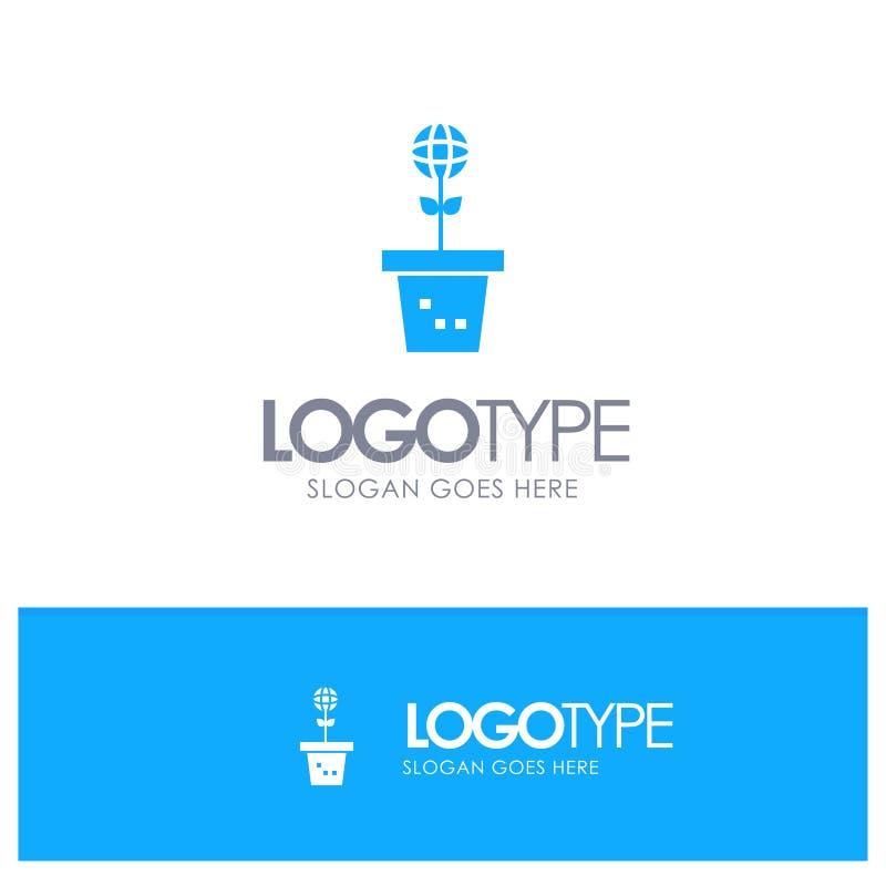 Το Eco, περιβάλλον, φόρμα, φύση, φυτεύει το μπλε στερεό λογότυπο με τη θέση για το tagline ελεύθερη απεικόνιση δικαιώματος