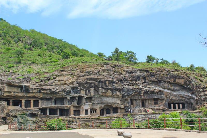 Το Ellora ανασκάπτει, η μακρύτερη πέτρα χάρασε τις σπηλιές, Ινδία στοκ φωτογραφίες