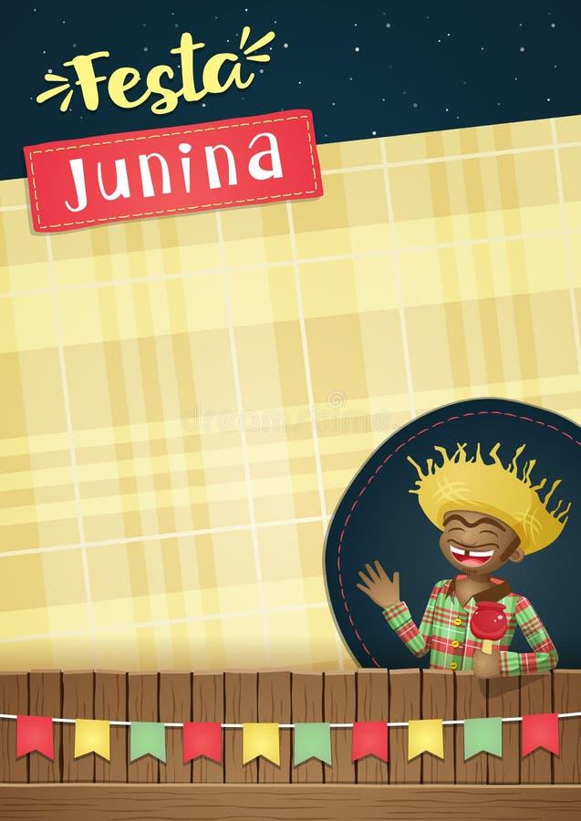 Το Festa Junina, βραζιλιάνο πρότυπο κομμάτων Ιουνίου ή προσκαλεί - A5 ελεύθερη απεικόνιση δικαιώματος