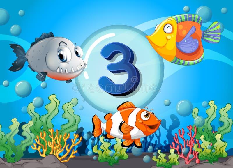 Το Flashcard αριθμός τρία με 3 αλιεύει υποβρύχιο απεικόνιση αποθεμάτων