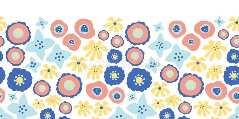 Το Floral άνευ ραφής διάνυσμα επαναλαμβάνει τα σύνορα Συρμένο χέρι ροζ υποβάθρου θερινών λουλουδιών, κίτρινος, μπλε Σκανδιναβικό  διανυσματική απεικόνιση