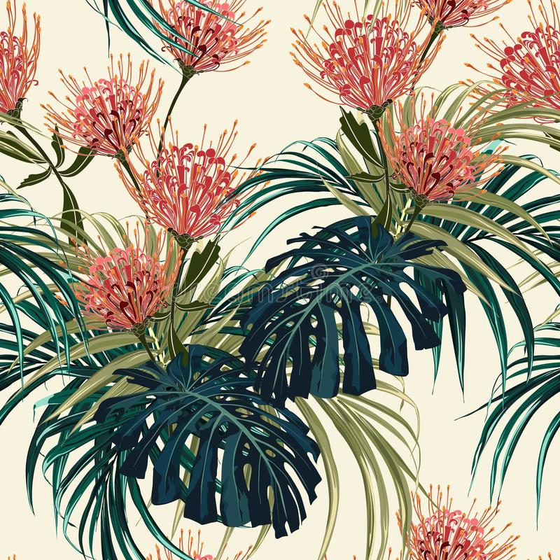 Το Floral άνευ ραφής διανυσματικό τροπικό σχέδιο, θερινό υπόβαθρο άνοιξης με το εξωτικό protea ανθίζει, φύλλα φοινικών ελεύθερη απεικόνιση δικαιώματος