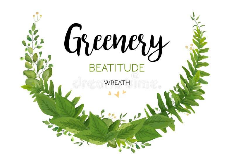 Το Floral διάνυσμα προσκαλεί την κάρτα με τα πράσινα φύλλα φτερών ευκαλύπτων eleg διανυσματική απεικόνιση
