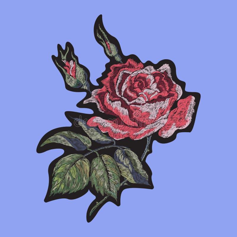 Το floral μπάλωμα κεντητικής με το κόκκινο αυξήθηκε ελεύθερη απεικόνιση δικαιώματος