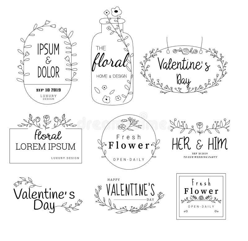 Το Floral πλαίσιο έθεσε για το γάμο, ανθοπωλείο, για την εκτύπωση, κάρτα, έμβλημα, προϊόν διάνυσμα διανυσματική απεικόνιση