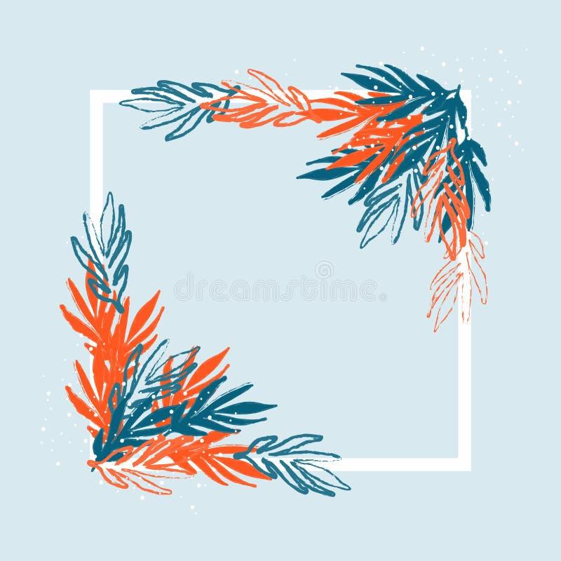 Το Floral πλαίσιο κόκκινου και του μπλε φεύγει και διακλαδίζεται με ένα κενό διάστημα στο κέντρο σε ένα μπλε υπόβαθρο ελεύθερη απεικόνιση δικαιώματος