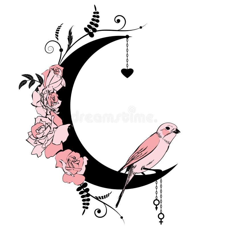 Το Floral πλαίσιο με το πουλί και αυξήθηκε ελεύθερη απεικόνιση δικαιώματος