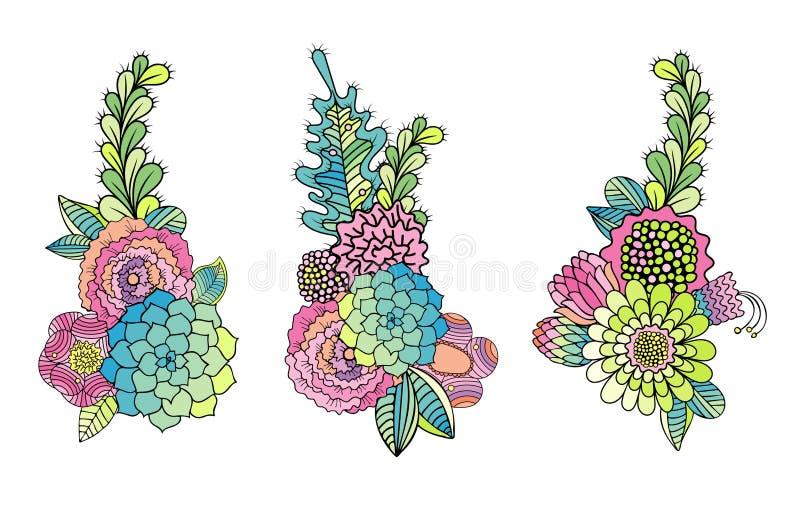 Το Floral συρμένο χέρι σύνολο succulent, αυξήθηκε, διάνυσμα φύλλων ελεύθερη απεικόνιση δικαιώματος
