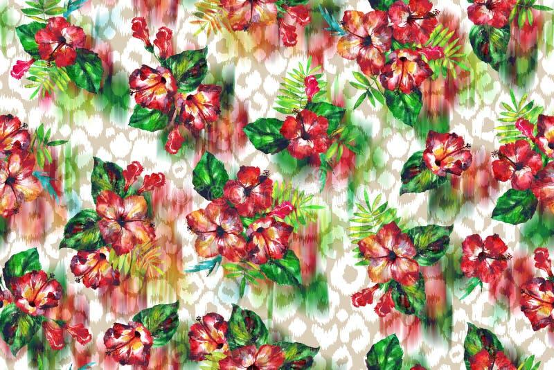 Το Floral τροπικό υπόβαθρο σε ένα δέρμα λεοπαρδάλεων ανθίζει hibiscus διανυσματική απεικόνιση