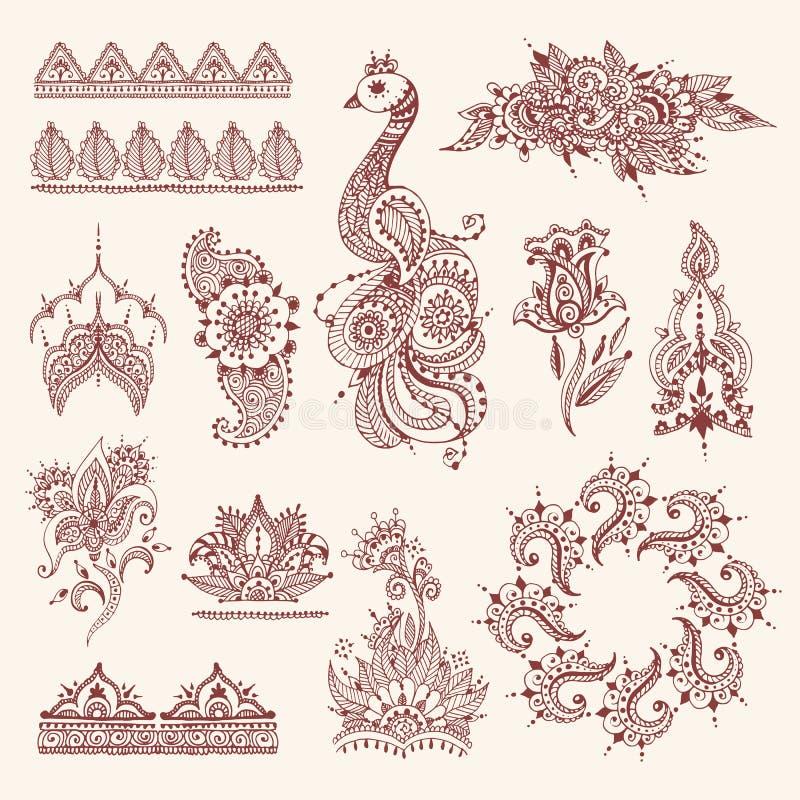 Το Floral mehendi ανθίζει το εκλεκτής ποιότητας henna απεικόνισης διακοσμήσεων σχεδίων διανυσματικό συρμένο χέρι υπόβαθρο της Ινδ απεικόνιση αποθεμάτων
