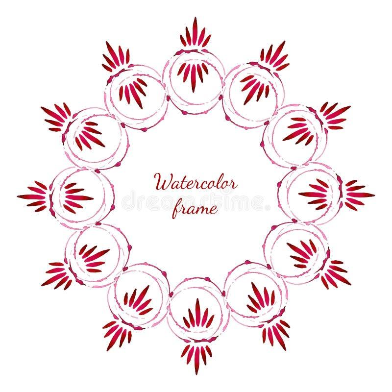 Το Floral watercolor ανθίζει το πλαίσιο διανυσματικό watercolor πλαισίων σχεδίων Σχέδιο για την πρόσκληση, το έμβλημα, flayer, το απεικόνιση αποθεμάτων