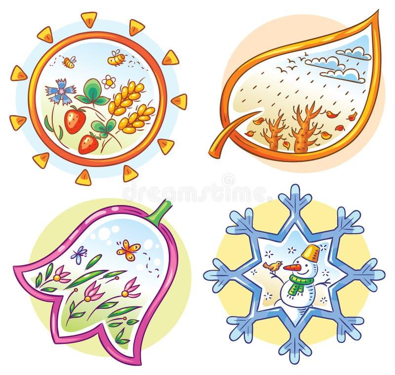 Το Four Seasons στις συρμένες χέρι εικόνες κινούμενων σχεδίων ελεύθερη απεικόνιση δικαιώματος