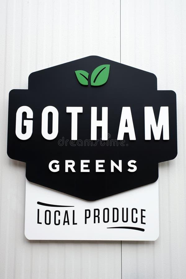 Το Gotham πρασινίζει το λογότυπο εισόδων πόλη του Μπρούκλιν, Νέα Υόρκη - 8 Δεκεμβρίου 2016 στοκ εικόνες με δικαίωμα ελεύθερης χρήσης