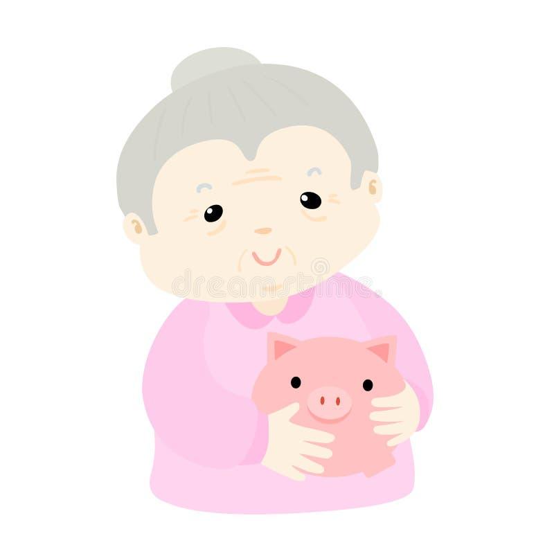 Το Grandmom κερδίζει χρήματα στη piggy τράπεζα διανυσματική απεικόνιση