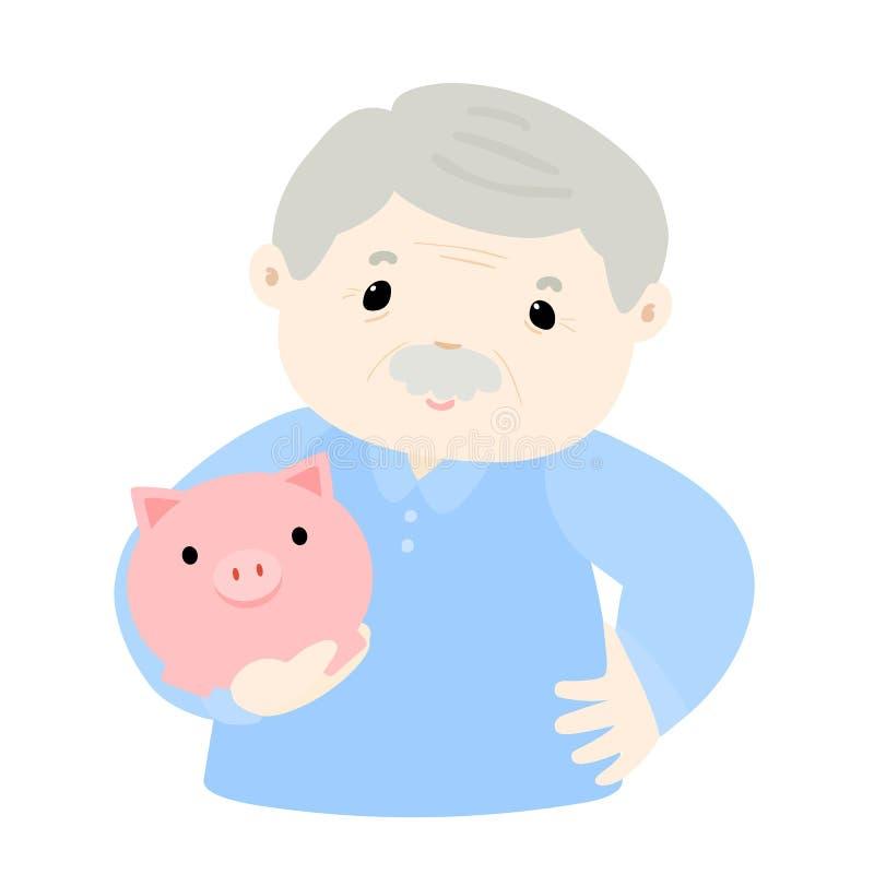 Το Grandpa κερδίζει χρήματα στη piggy τράπεζα απεικόνιση αποθεμάτων
