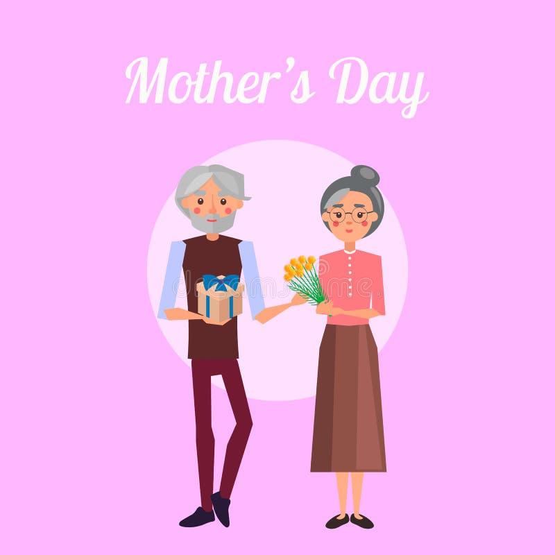 Το Grandpa συγχαίρει τη γιαγιά στην ημέρα μητέρων s ελεύθερη απεικόνιση δικαιώματος