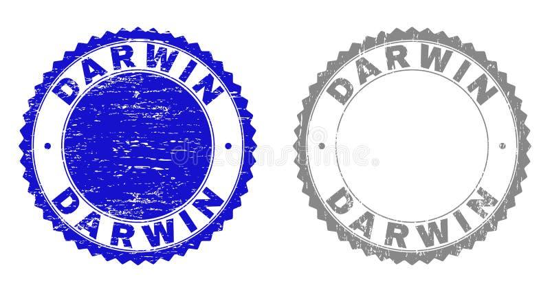 Το Grunge ΔΑΡΒΙΝΟΣ γρατσούνισε τα γραμματόσημα απεικόνιση αποθεμάτων