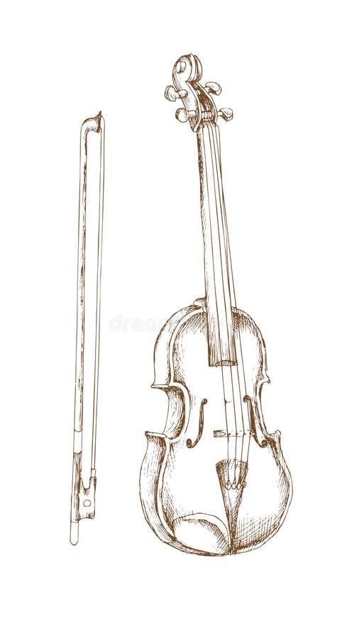 Το Hand-drawn σύνολο τα μουσικά όργανα Τέχνη χάραξης Βιολί και τόξο για το έμβλημα και διαφήμιση με την διαγώνιος-εκκόλαψη, conto ελεύθερη απεικόνιση δικαιώματος