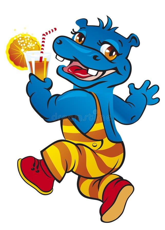 Το Hippo πίνει το χυμό στοκ εικόνες