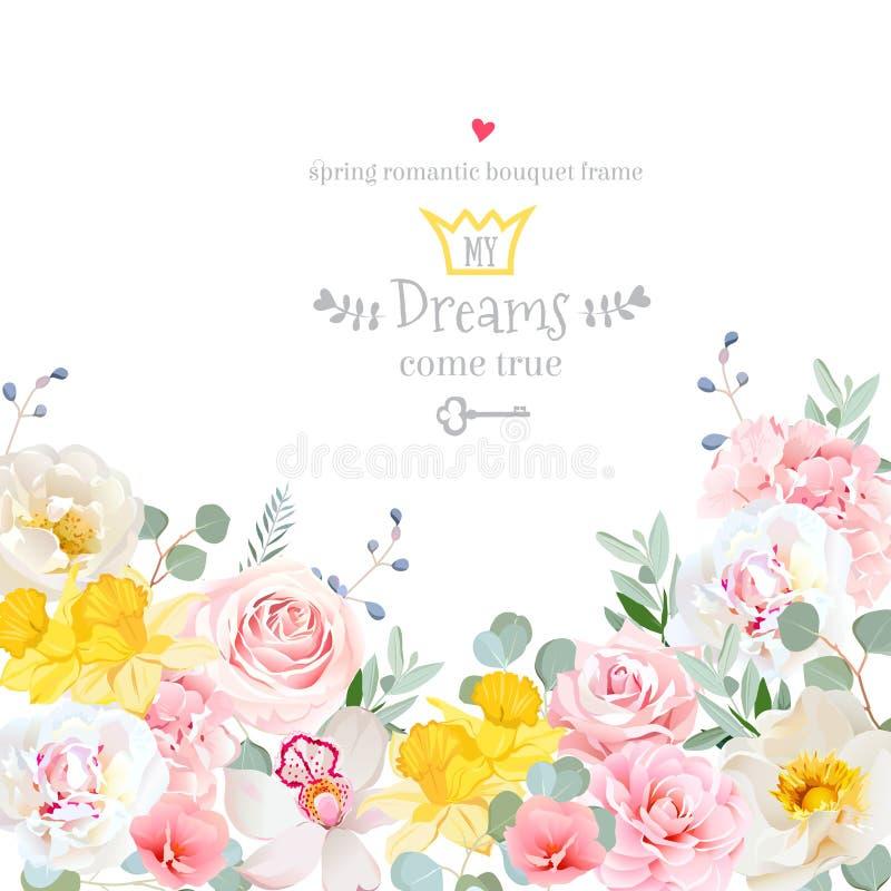 Το hydrangea άνοιξη, αυξήθηκε, peony, ορχιδέα, daffodil διανυσματικό ασβέστιο σχεδίου απεικόνιση αποθεμάτων