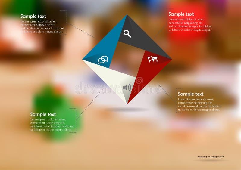 Το infographic πρότυπο απεικόνισης με το τετραγωνικό origami χρώματος αποτελείται από τέσσερα μέρη διανυσματική απεικόνιση
