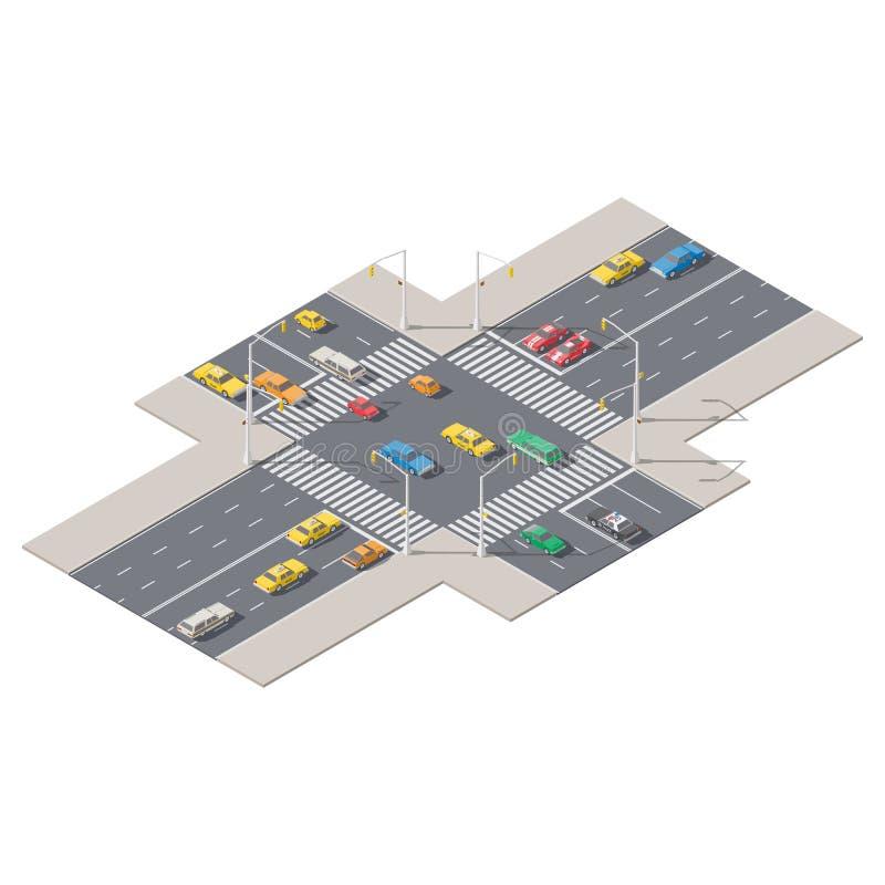 Το Infographics αντιπροσώπευσε τα σταυροδρόμια που ελέγχθηκαν από το isometric σύνολο εικονιδίων φωτεινών σηματοδοτών απεικόνιση αποθεμάτων