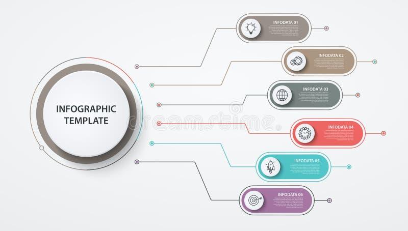 Το Infographics περιβάλλει 6 επιλογές ή βήματα Επιχειρησιακή έννοια, διάγραμμα φραγμών, γραφική παράσταση πληροφοριών, διαδικασίε διανυσματική απεικόνιση