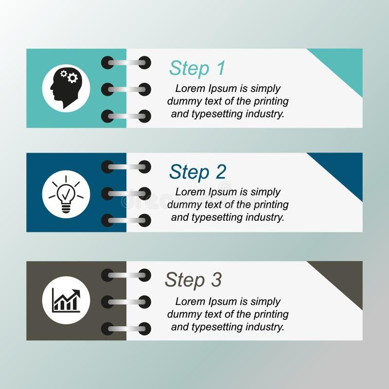 Το Infographics συσσωρεύεται σε τρία βήματα ελεύθερη απεικόνιση δικαιώματος