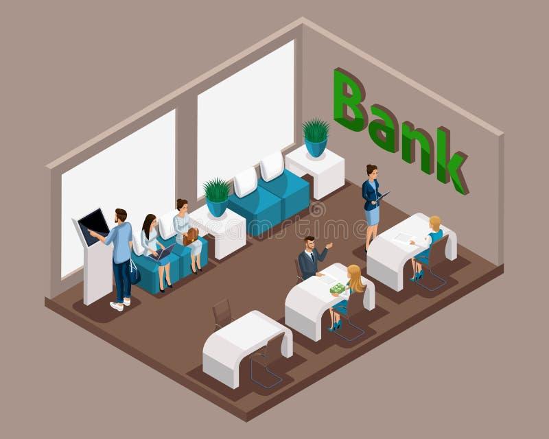 Το Isometric γραφείο της τράπεζας, υπάλληλοι τραπεζών εξυπηρετεί τους πελάτες, ηλεκτρονική σειρά αναμονής, αίθουσα αναμονής, οι π διανυσματική απεικόνιση
