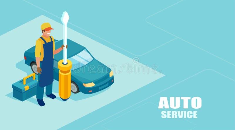Το Isometric διάνυσμα ενός μηχανικού με ένα κατσαβίδι έτοιμο να καθορίσει ένα αυτοκίνητο προσφέρει μια επαγγελματική υπηρεσία ελεύθερη απεικόνιση δικαιώματος