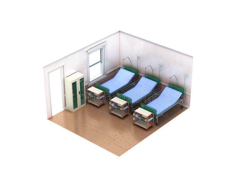 Το Isometric ιατρικό δωμάτιο τρία κρεβάτι τρισδιάστατο δίνει το μη άσπρο υπόβαθρο διανυσματική απεικόνιση