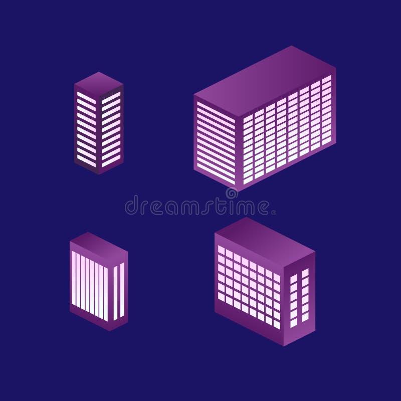 το isometric κτήριο, κάθε μέρος ομαδοποιείται καλά και εύκολος να ρυθμίσει εκ νέου διανυσματική απεικόνιση